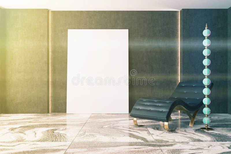 Luksusowy ciemny żywy pokój, karło, plakat tonujący ilustracji