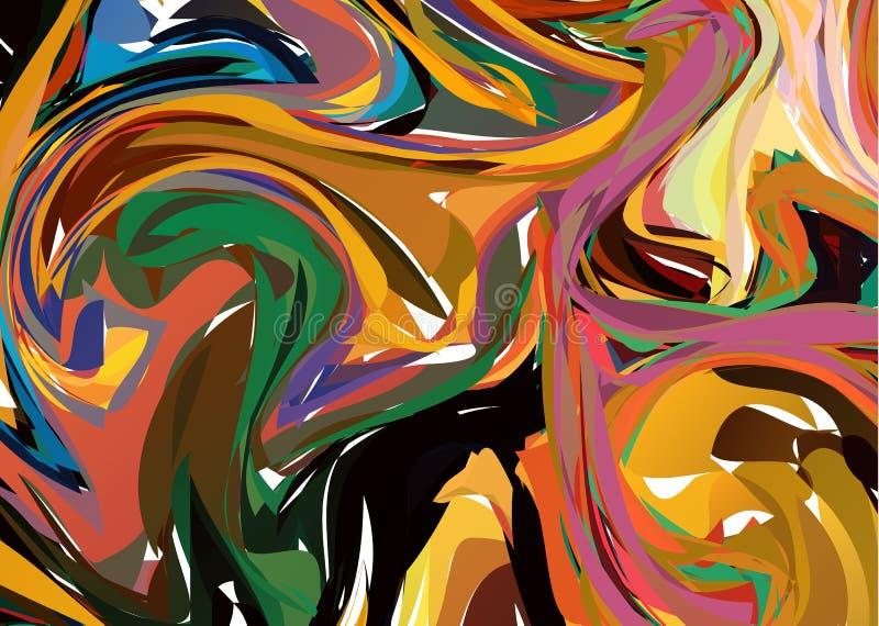 Luksusowy Ciemny Kolorowy Marmurowy tło z zawijasami Abstrakt kamień Deseniująca tekstura Modny szablon dla zaproszenia, przyjęci royalty ilustracja
