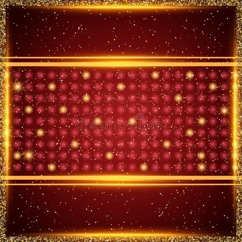 Luksusowy czerwieni i złota tło Projekt dla prezentaci, koncert, przedstawienie royalty ilustracja