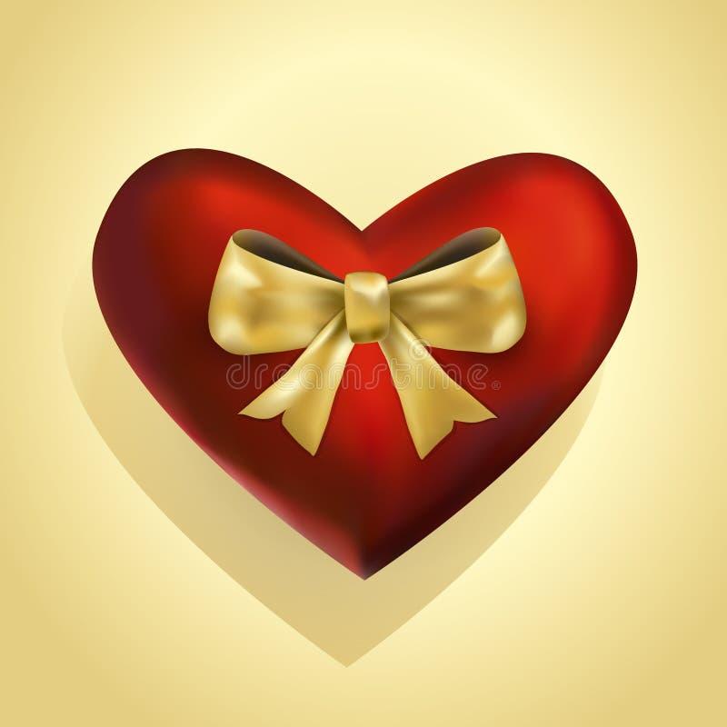 Luksusowy 3d serce z złotym skłonionym faborkiem royalty ilustracja