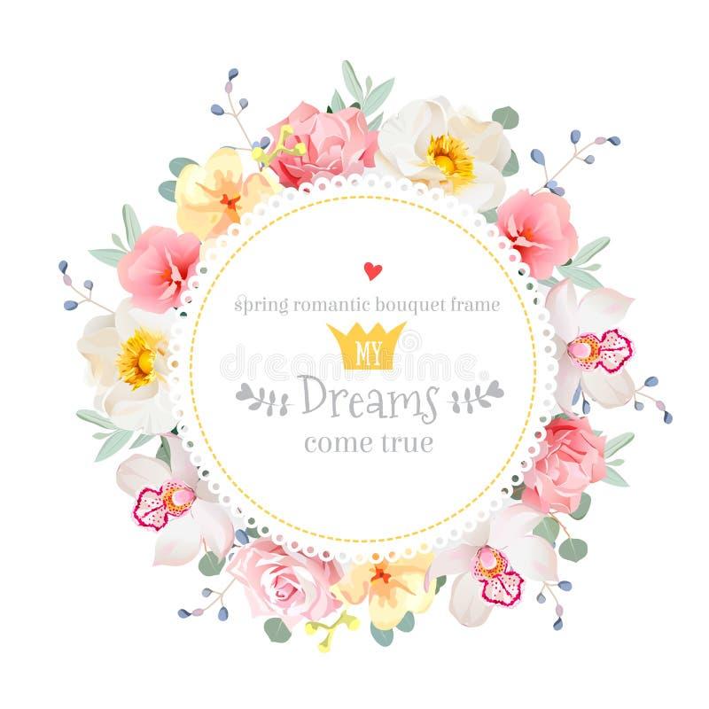Luksusowy dziki wzrastał, orchidea, goździk, menchia kwiaty, błękitne jagody i eukaliptusów liści wektoru round rama, royalty ilustracja