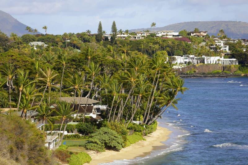 Luksusowy graniczący z oceanem stwarza ognisko domowe w Hawaje fotografia stock