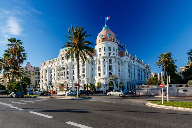 Luksusowy Hotel Negresco na Angielskim deptaku w Ładnym obraz stock