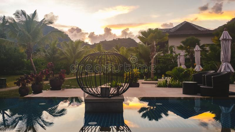 Luksusowy hotel przy Seychelles zdjęcie stock