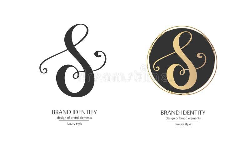 Luksusowy kaligraficzny listowego S monogram - wektorowy loga szablon Wyszukany gatunku projekt royalty ilustracja