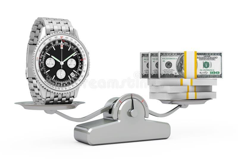 Luksusowy Klasyczny Analogowy mężczyzna ` s nadgarstku srebra zegarek z pieniądze Balanc royalty ilustracja