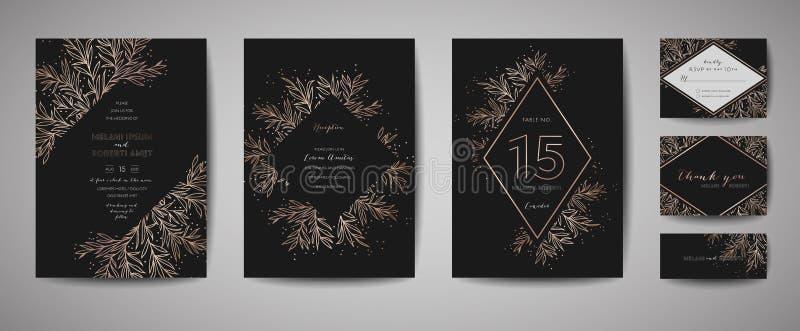 Luksusowy kwiatu rocznika ślub Oprócz daty, zaproszenie Kwieciste karty Inkasowe z Złocistej folii ramą modna pokrywa, graficzny  ilustracji