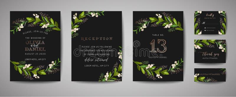 Luksusowy kwiatu rocznika ślub Oprócz daty, zaproszenie Kwieciste karty Inkasowe z Złocistej folii ramą Wektorowa modna pokrywa,  royalty ilustracja
