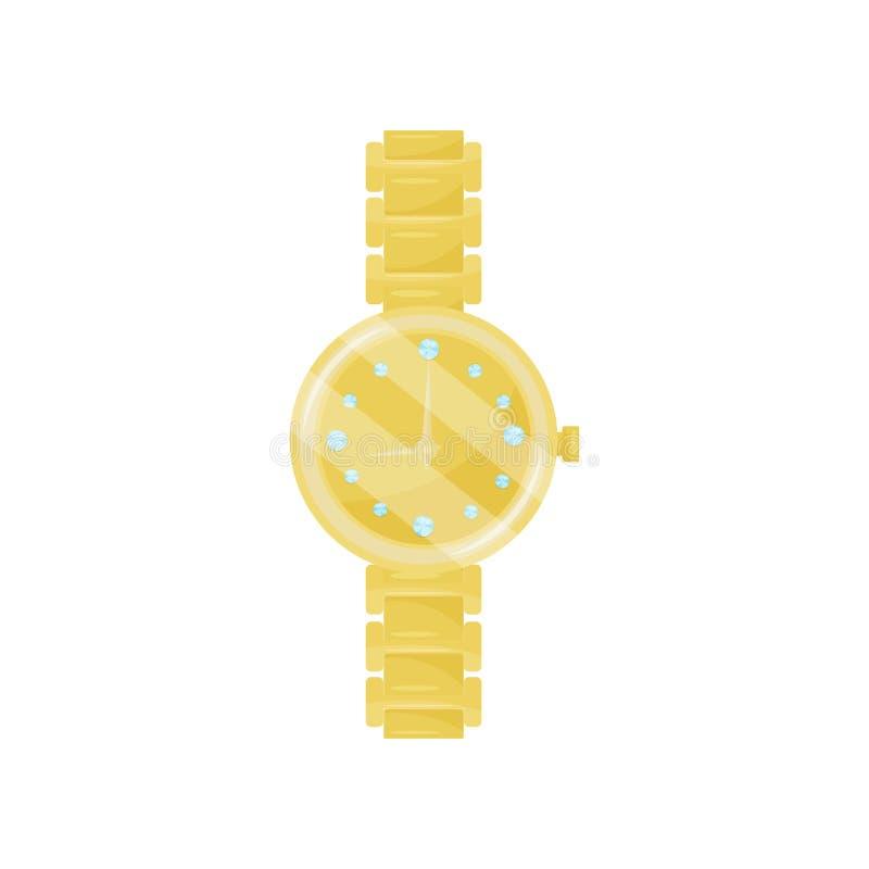Luksusowy machinalny wristwatch z złotym łańcuchem i diamenty na tarczy Elegancki żeński akcesorium Płaska wektorowa ikona royalty ilustracja