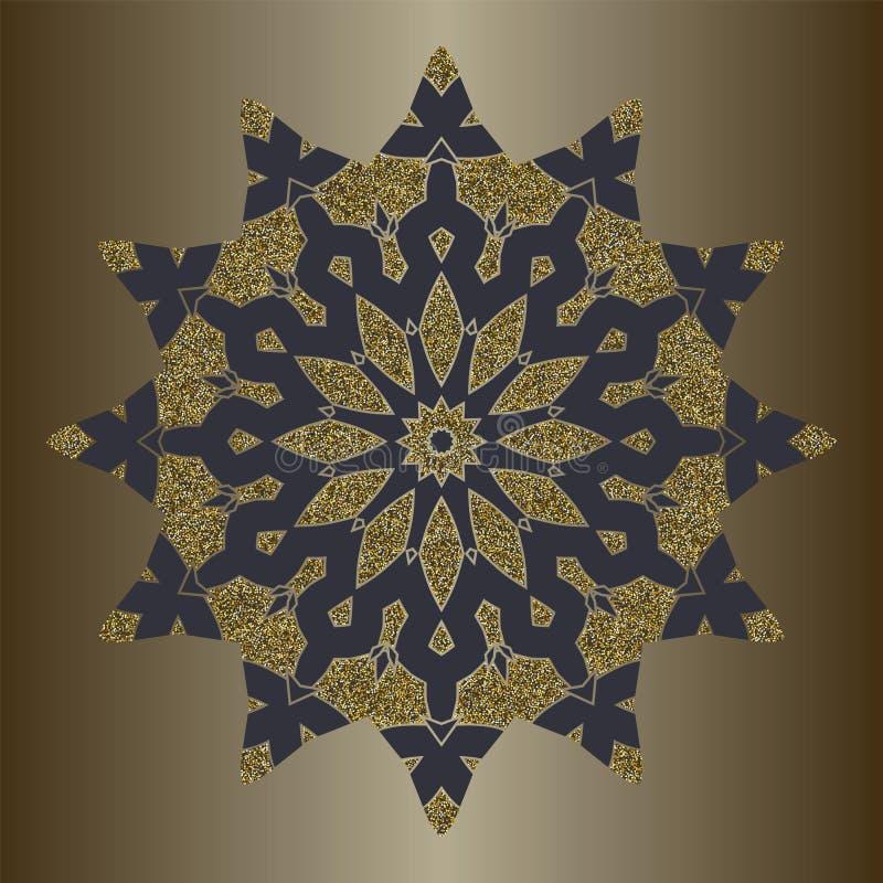 Luksusowy mandala z złocistą błyskotliwością w etnicznym stylu Dekoracyjny tło z rocznika ornamentem royalty ilustracja