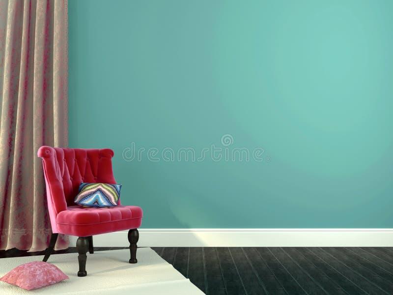 Luksusowy menchii krzesło z dekoracjami ilustracja wektor