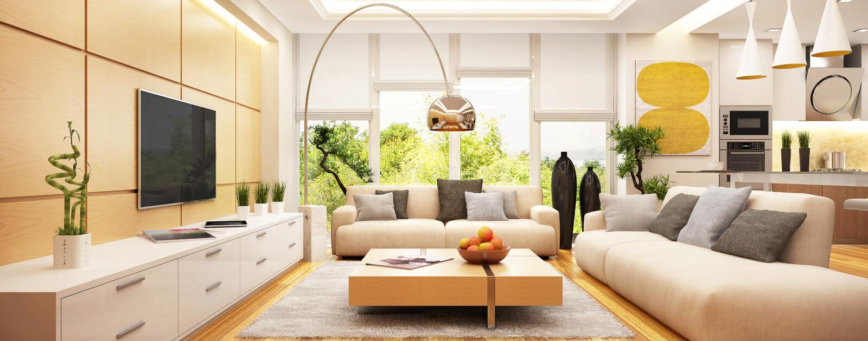 Luksusowy nowożytny żywy pokój z kuchnią w jeden przestrzeni ilustracji