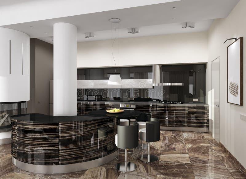 Luksusowy nowożytny kuchenny wnętrze ilustracji
