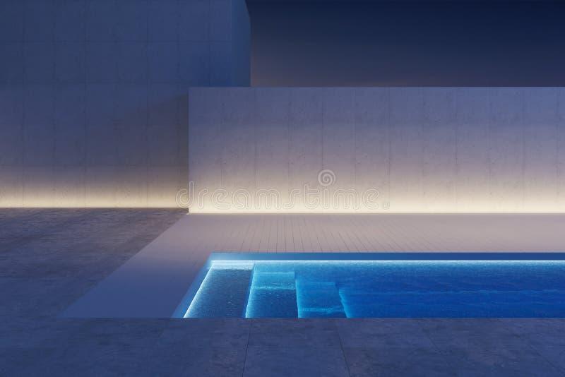 Luksusowy nowoczesny podwórko z basenem ilustracji