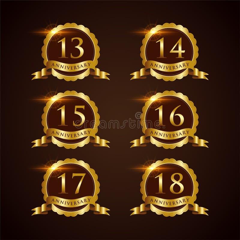 Luksusowy 13-18 odznaki rocznicy Wektorowy ilustrator Eps 10 royalty ilustracja