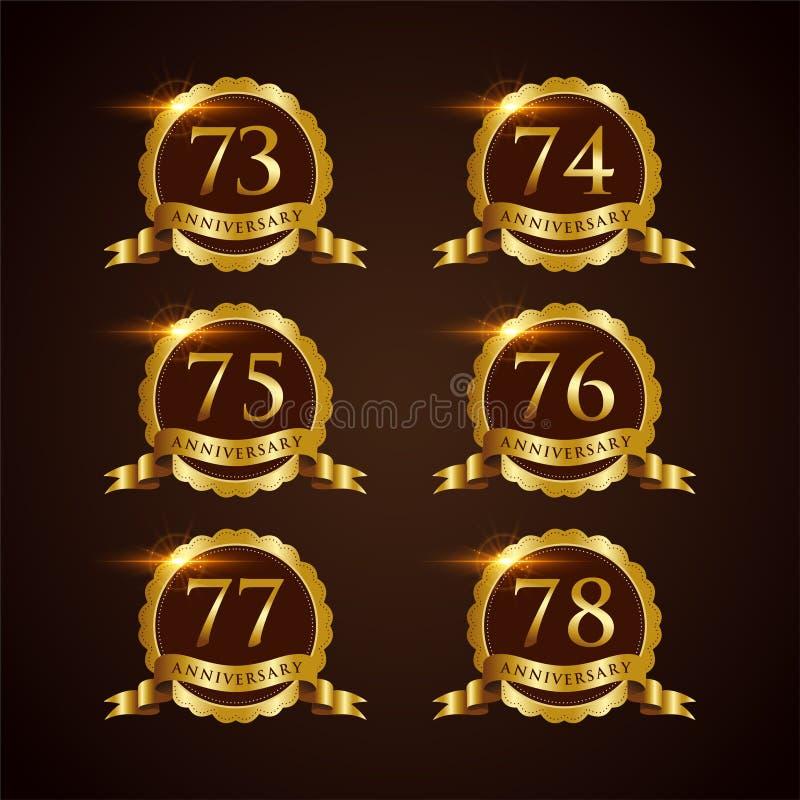 Luksusowy 73-78 odznaki rocznicy Wektorowy ilustrator Eps 10 ilustracja wektor