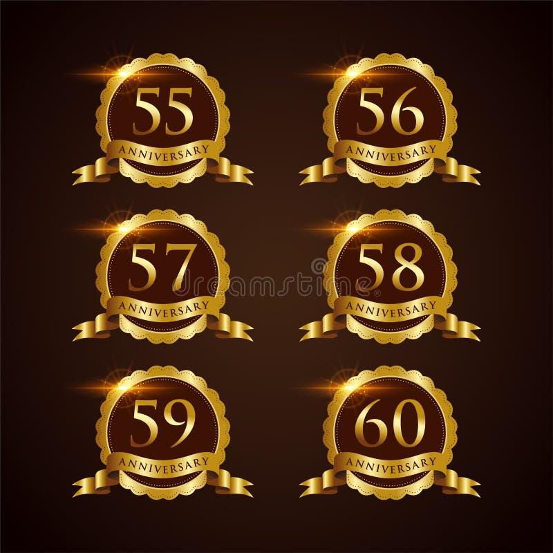 Luksusowy 55-60 odznaki rocznicy Wektorowy ilustrator Eps 10 royalty ilustracja