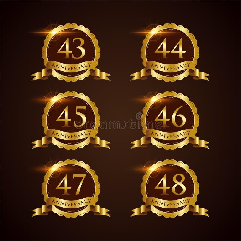 Luksusowy 43-48 odznaki rocznicy Wektorowy ilustrator Eps 10 ilustracja wektor