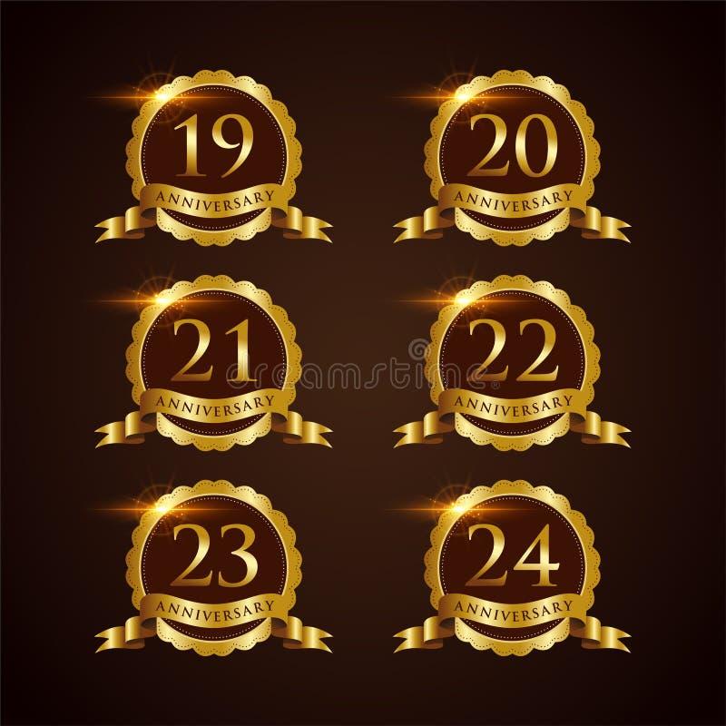 Luksusowy 19-24 odznaki rocznicy Wektorowy ilustrator Eps 10 ilustracja wektor