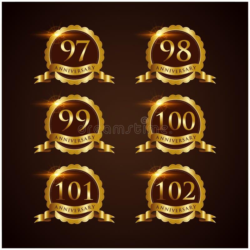 Luksusowy 79-84 odznaki rocznicy Wektorowy ilustrator Eps 10 royalty ilustracja