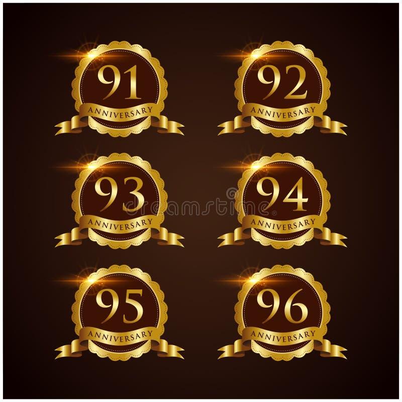 Luksusowy 91-96 odznaki rocznicy Wektorowy ilustrator Eps 10 ilustracji