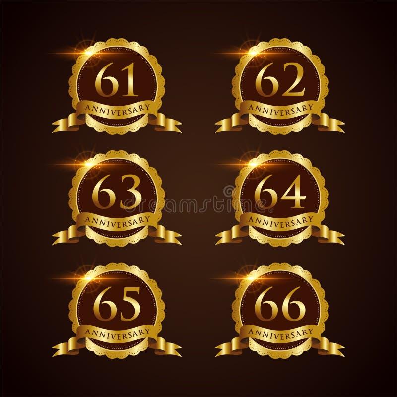 Luksusowy 61-66 odznaki rocznicy Wektorowy ilustrator Eps 10 royalty ilustracja