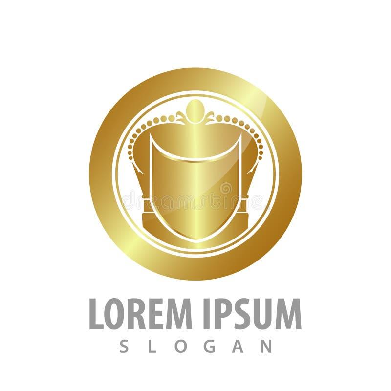 Luksusowy osłona okręgu korony logo pojęcia projekt Symbolu szablonu elementu graficzny wektor ilustracja wektor