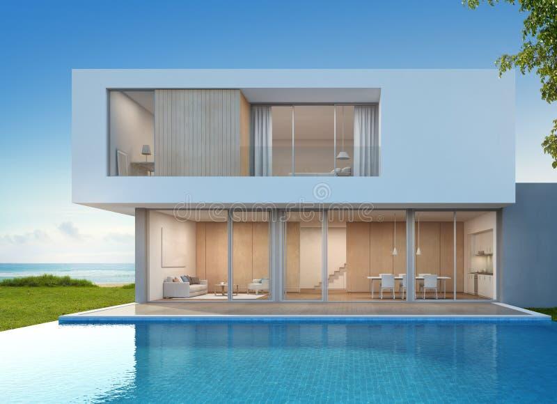 Luksusowy plażowy dom z dennego widoku pływackim basenem w nowożytnym projekcie, Urlopowy dom dla dużej rodziny royalty ilustracja