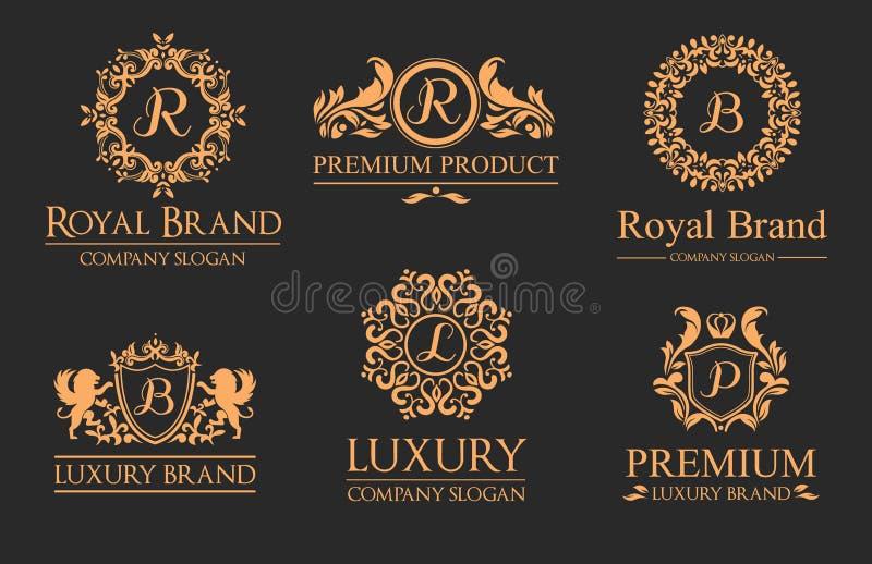 Luksusowy premia logo Z monogramami i złotem ilustracji