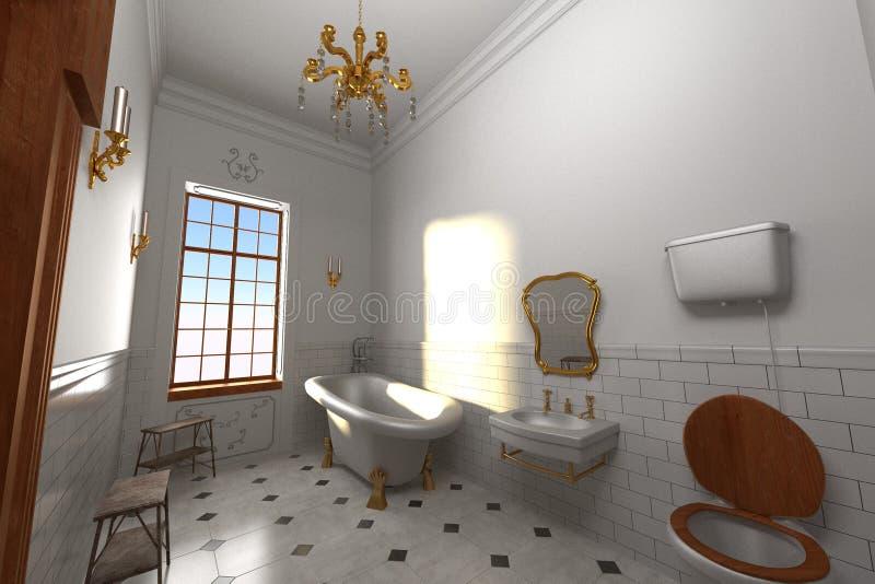 Luksusowy rezydenci ziemskiej wnętrze - łazienka ilustracji