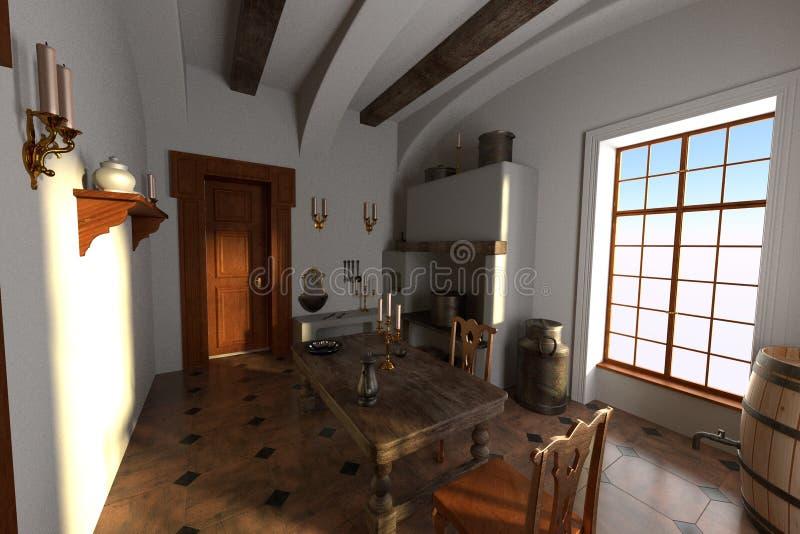Luksusowy rezydenci ziemskiej wnętrze - kuchnia ilustracji