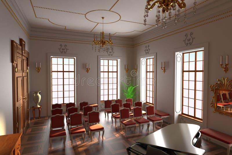 Luksusowy rezydenci ziemskiej wnętrze - sala ilustracji