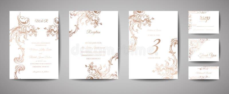 Luksusowy rocznika ślubu Save data, zaproszenie Grępluje kolekcję z Złocistej folii wiankiem i ramą modna pokrywa, grafika ilustracji