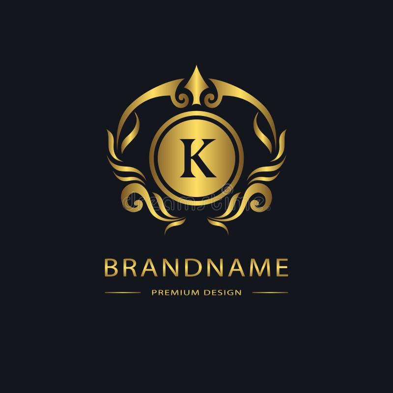 Luksusowy rocznika logo Biznesu znak, etykietka Złoto Listowy emblemat K dla odznaki, grzebień, restauracja, królewskość, butika