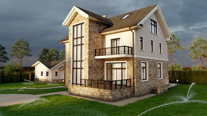 Luksusowy rodzina dom z kształtować teren ilustracji