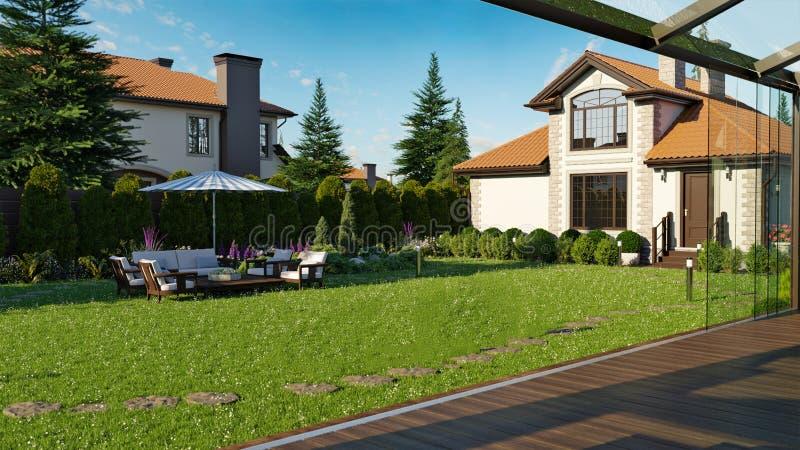 Luksusowy rodzina dom z kształtować teren ilustracja wektor