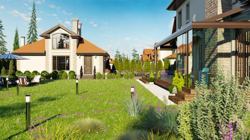 Luksusowy rodzina dom z kształtować teren royalty ilustracja