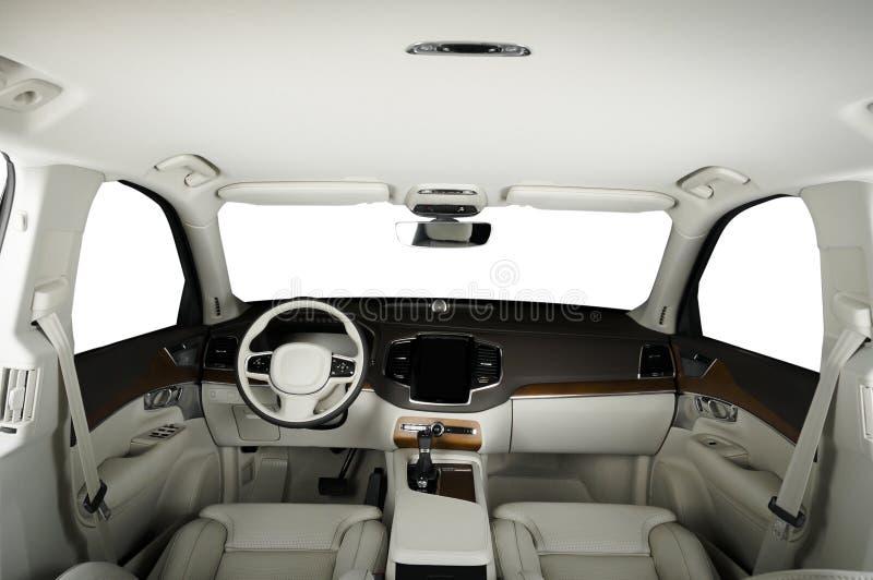 Luksusowy samochód inside Wnętrze prestiżu nowożytny samochód Wygodni skór siedzenia Białej skóry i drewna kokpit zdjęcia royalty free