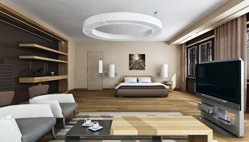 Luksusowy sypialni wnętrze w świetle dziennym ilustracja wektor