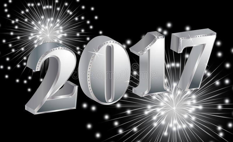 Luksusowy Szczęśliwy nowy rok 2017 z fajerwerkami na czarnym tle ilustracji