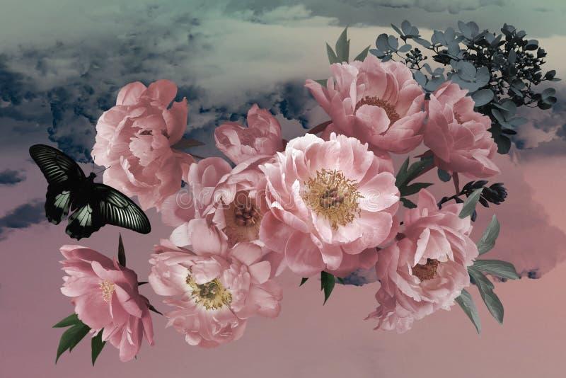 Luksusowy t?o Bukiet menchia ogród kwitnie peonie w górę obraz royalty free