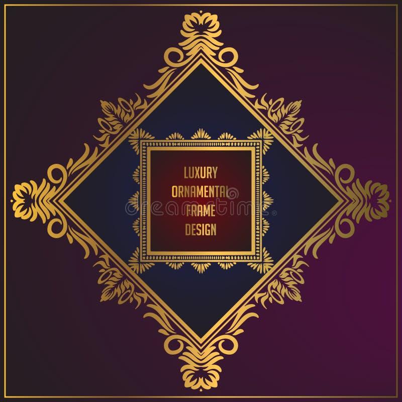 Luksusowy unikalny złoty kwiecistego ornamentu ramy projekt Złota tła ramowy projekt z luksusową kwiecistą dekoracją ilustracji