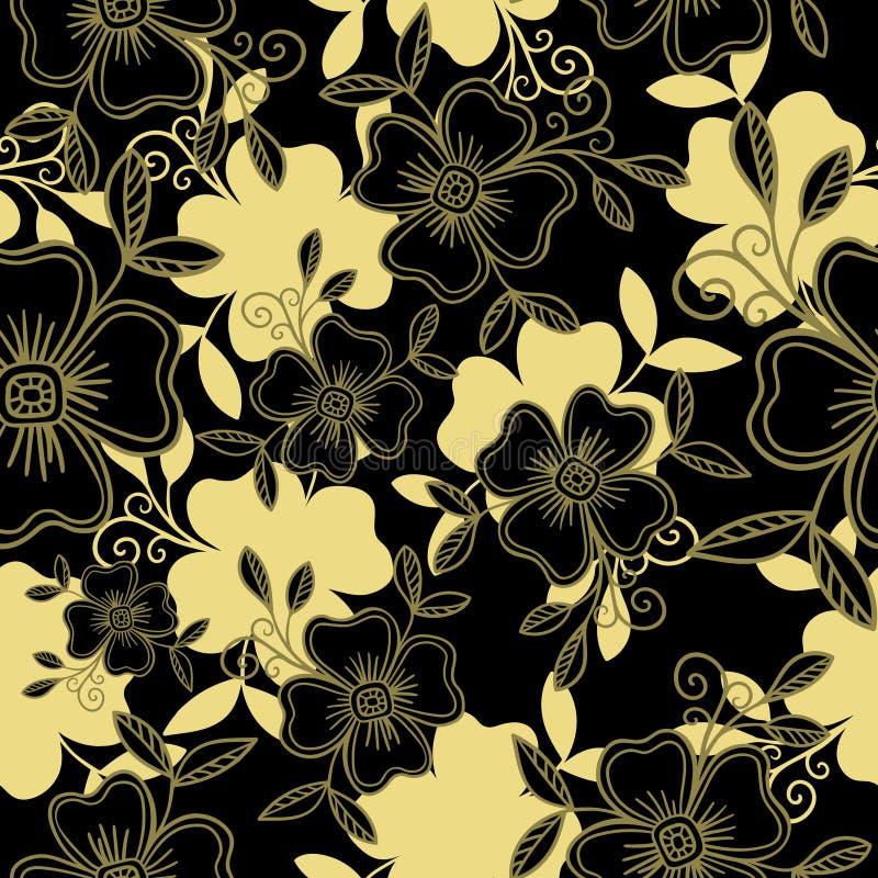 Luksusowy Wektorowy bezszwowy wzór - grafika kwitnie z liśćmi w czarnym anf złocie ilustracji