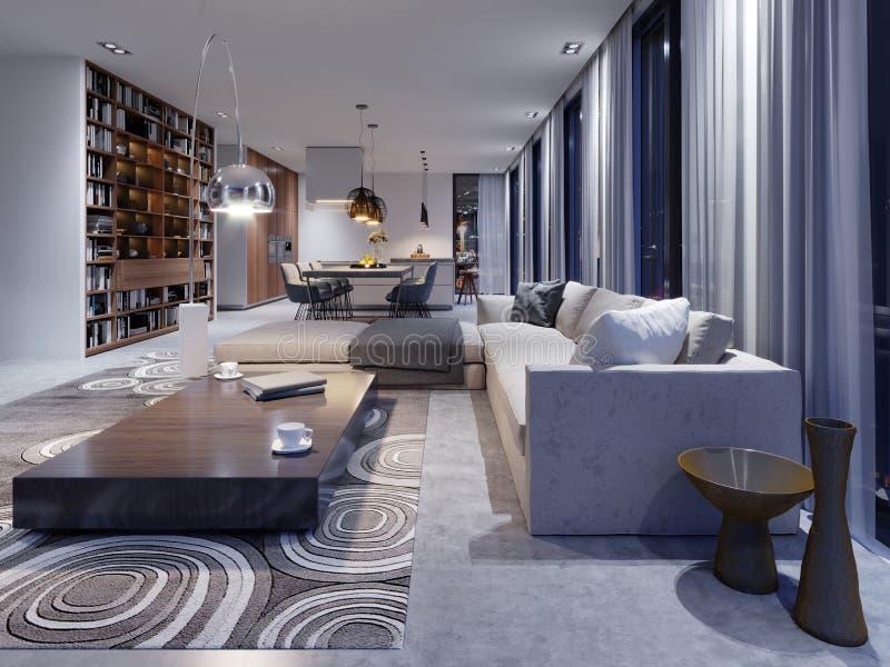 Luksusowy wnętrze żywy izbowy studio w rówieśnika des ilustracja wektor