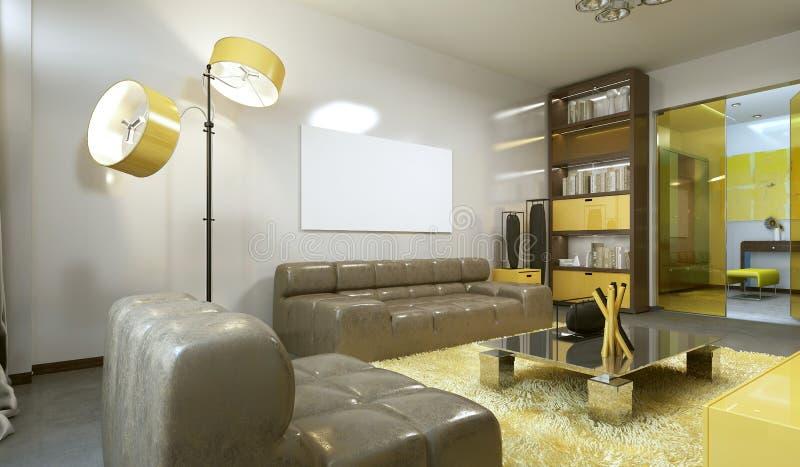 Luksusowy współczesny żywy pokój w palu popielatym, kolorze żółtym i brwi, royalty ilustracja