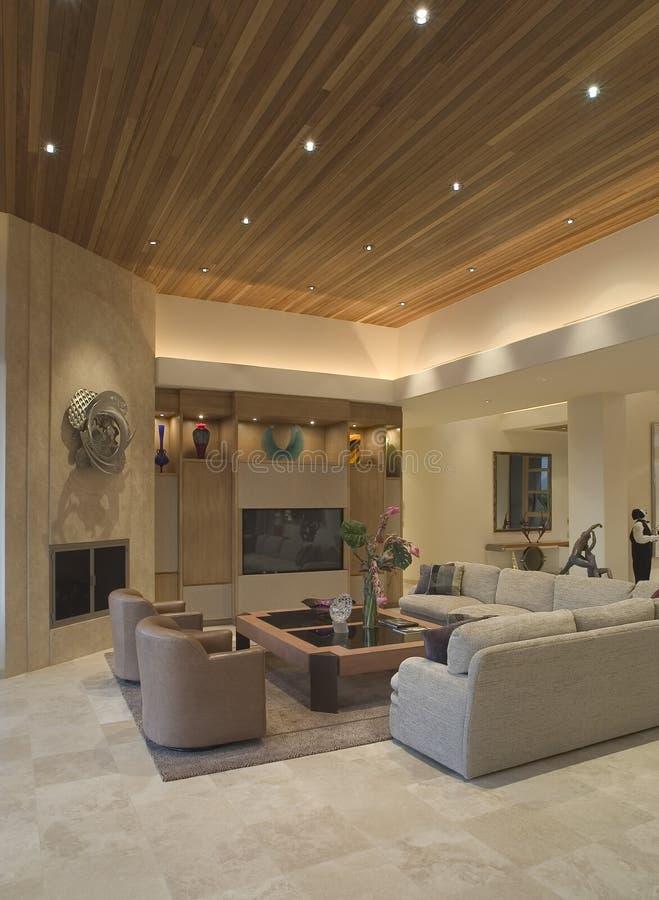 Luksusowy Żywy pokój W domu obraz stock