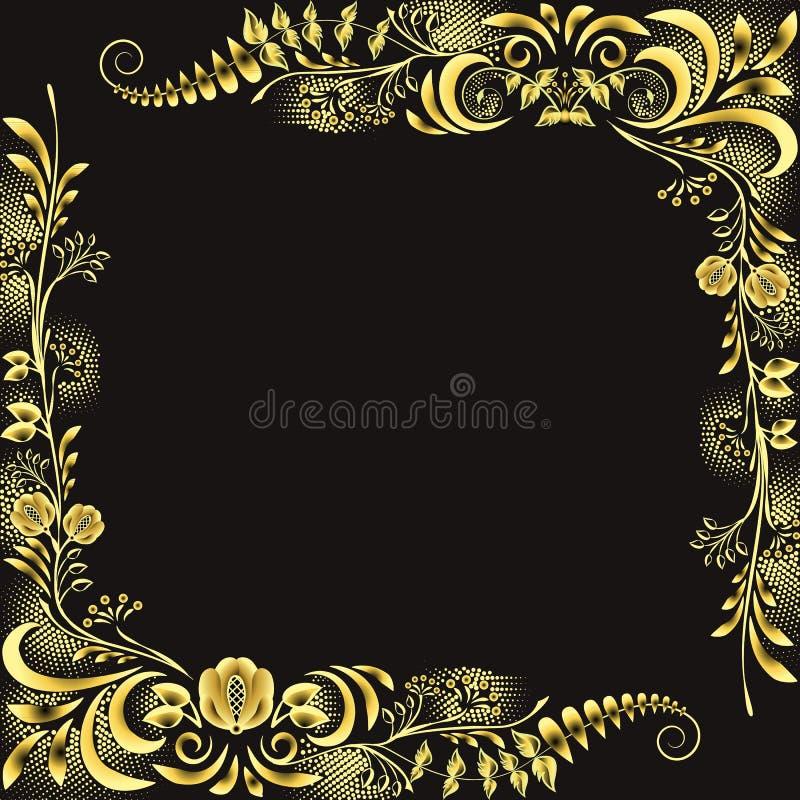 Luksusowy złoto z czerni ramą w boho stylu Kwieciści narożnikowi złoci elementy na czarnym tle ilustracji