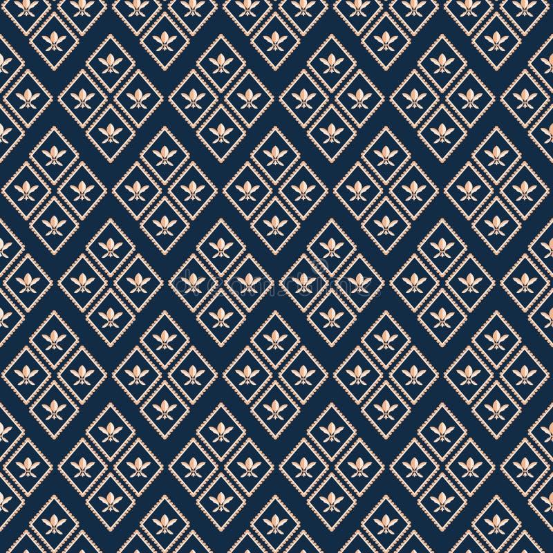 Luksusowy złocisty geometryczny Fleur De Lys luksusowy projekt Bezszwowy rhombus wektoru wzór na głębokim błękitnym tle _ ilustracja wektor