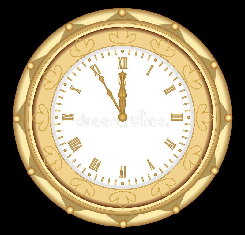 Luksusowy złoty zegar w art deco stylu, przedmiot na czarnym tle ilustracji