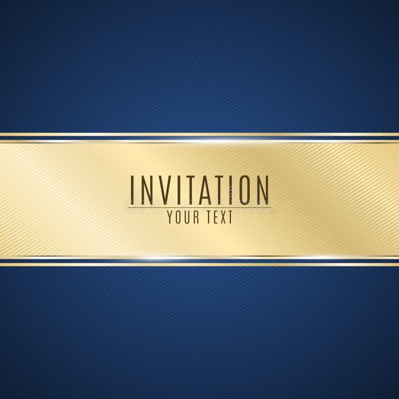 Luksusowy zaproszenie Złoty tasiemkowy sztandar na błękitnym tle z wzorem pochylone linie Realistyczny złocisty pasek z insc royalty ilustracja